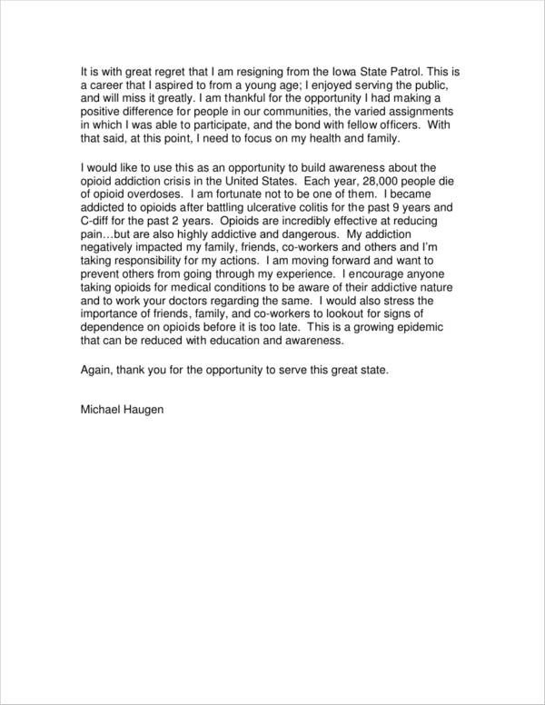 Resignation Letter with Regret 6 Resignation Letter with Regret Samples and Templates