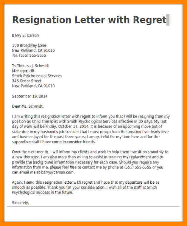 Resignation Letter with Regret 9 Resignation Letter with Regrets