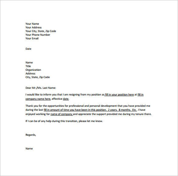 Resignation Letter with Regret Professional Resignation Letter Templates 12 Free Word