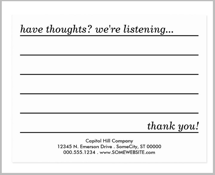 Restaurant Comment Card Template 10 Restaurant Guest Ment Card Designs & Templates
