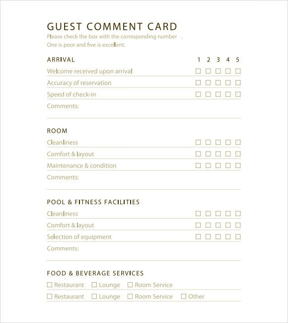 Restaurant Comment Card Template 11 Ment Cards Pdf Word Adobe Portable Documents