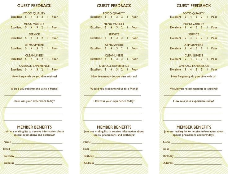 Restaurant Comment Card Template 24 Best Ment Cards Images On Pinterest