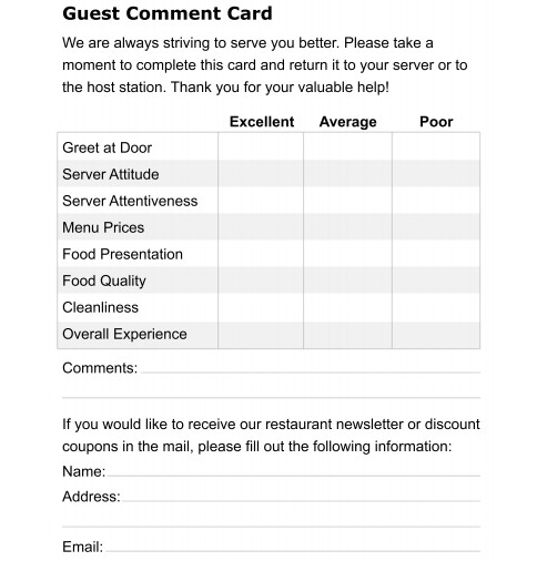 Restaurant Comment Card Template 5 Restaurant Ment Card Templates formats Examples In