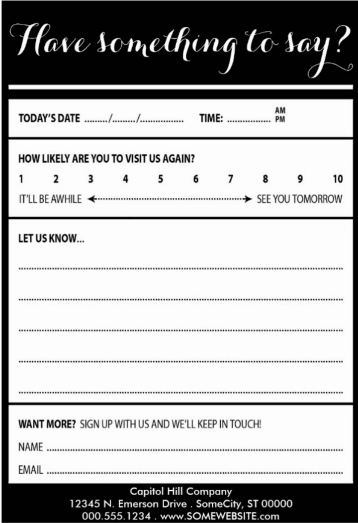Restaurant Comment Card Template 9 Restaurant Customer Ment Card Templates & Designs