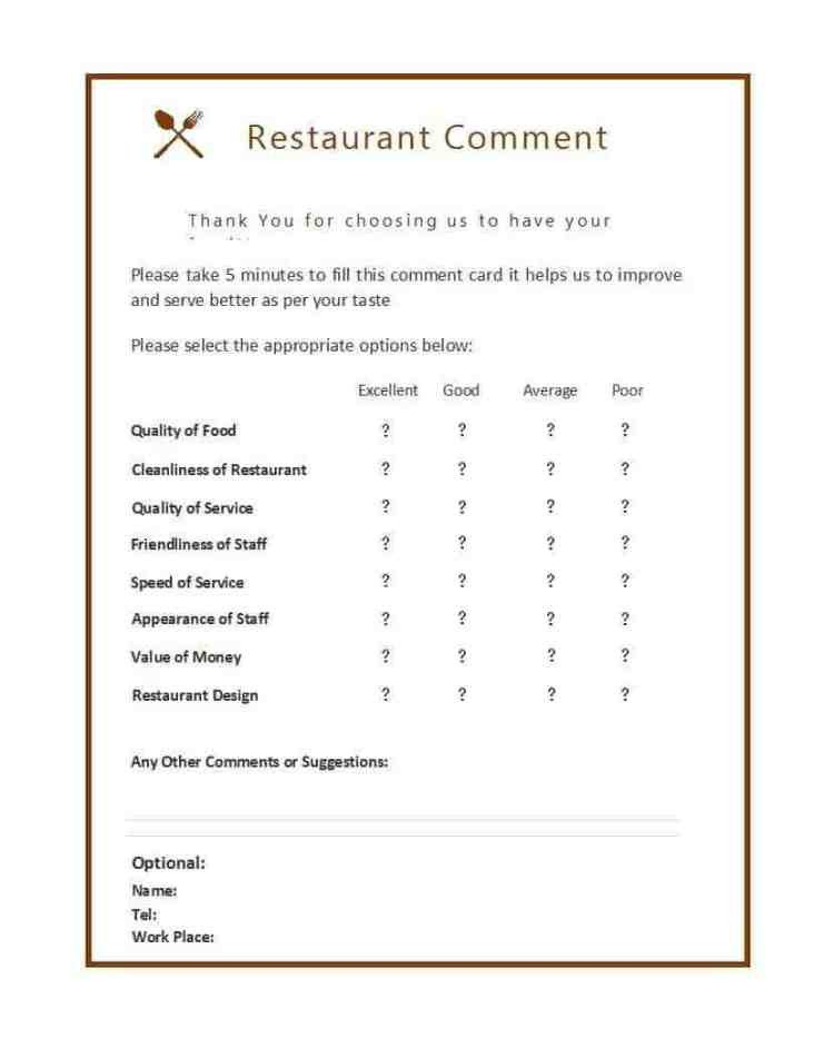 Restaurant Comment Card Template 9 Restaurant Ment Card Templates Free Sample Templates