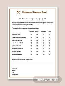 Restaurant Comment Card Template Free Ment Card Template In Adobe Shop Adobe