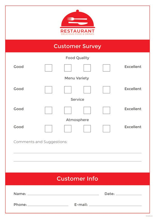 Restaurant Comment Card Template Ment Card Template – 15 Free Printable Sample Example
