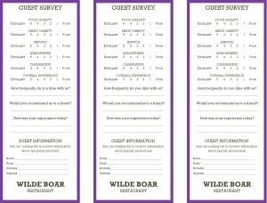 Restaurant Comment Card Template Purple Ment Cards