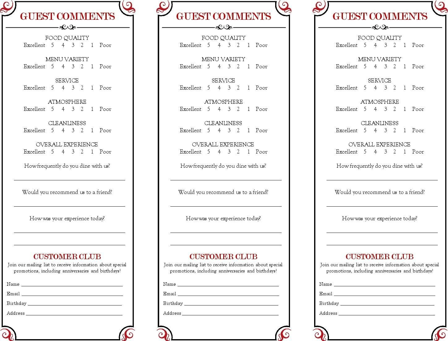 Restaurant Comment Card Template Restaurant Ment Card Google Search