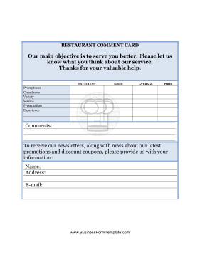 Restaurant Comment Card Template Restaurant Ment Card Template