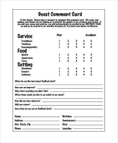 Restaurant Comment Card Template Sample Restaurant Feedback forms 7 Free Documents In