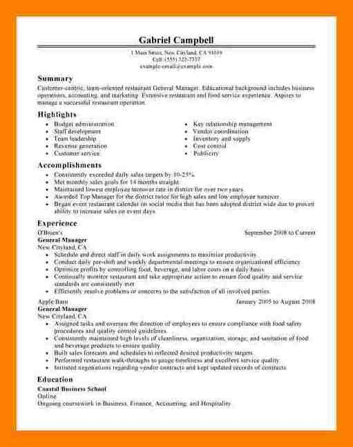 Restaurant General Manager Resume 7 Restaurant Gm Resume