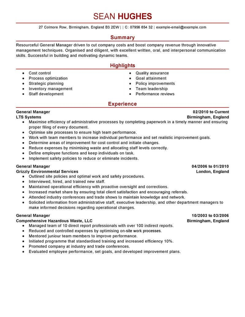 Restaurant General Manager Resume Best General Manager Resume Example