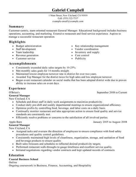 Restaurant General Manager Resume Best Restaurant Bar General Manager Resume Example