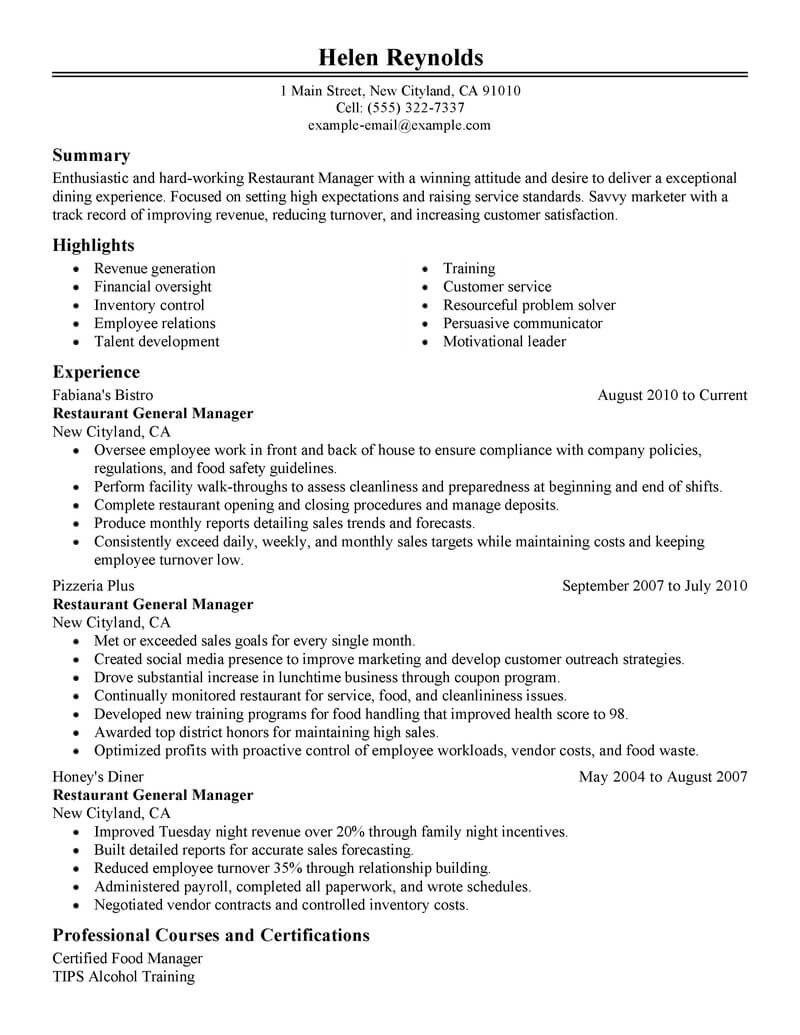 Restaurant General Manager Resume Best Restaurant Manager Resume Example