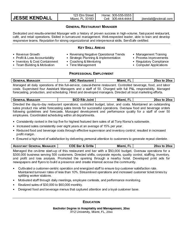 Restaurant General Manager Resume Free Best Restaurant Manager Resume Sample with