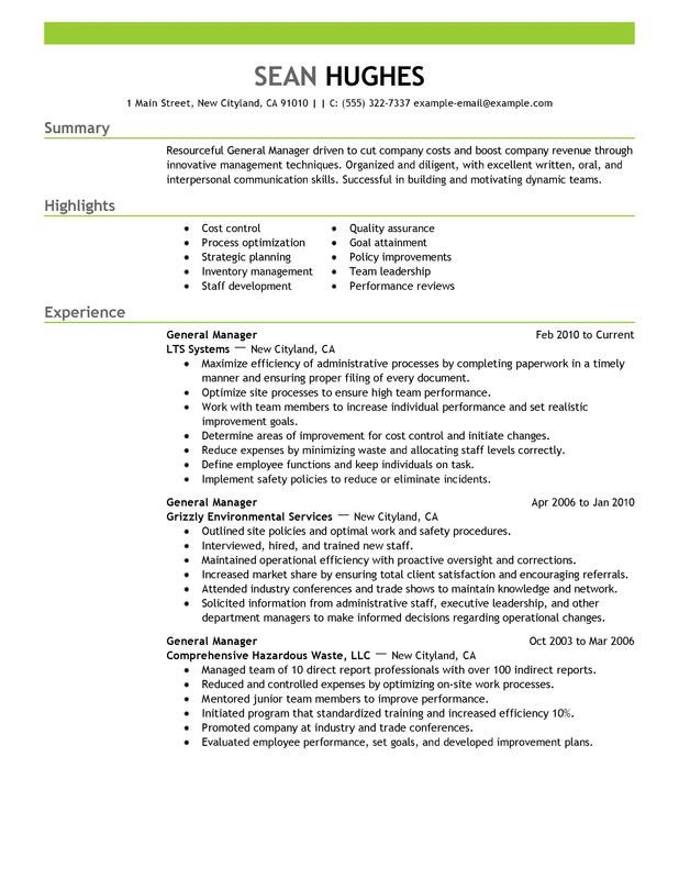 Restaurant General Manager Resume General Manager Resume Examples Created by Pros
