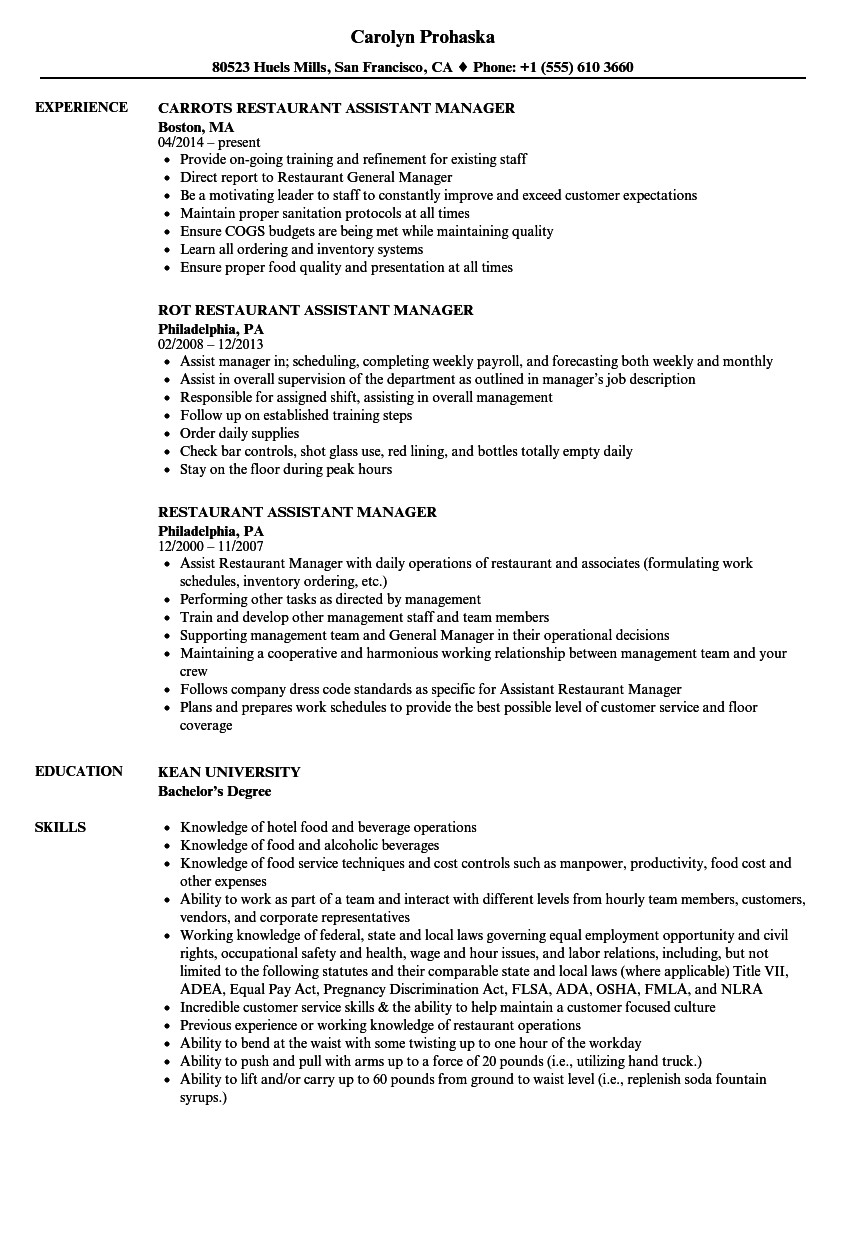 Restaurant General Manager Resume Restaurant assistant Manager Resume Samples