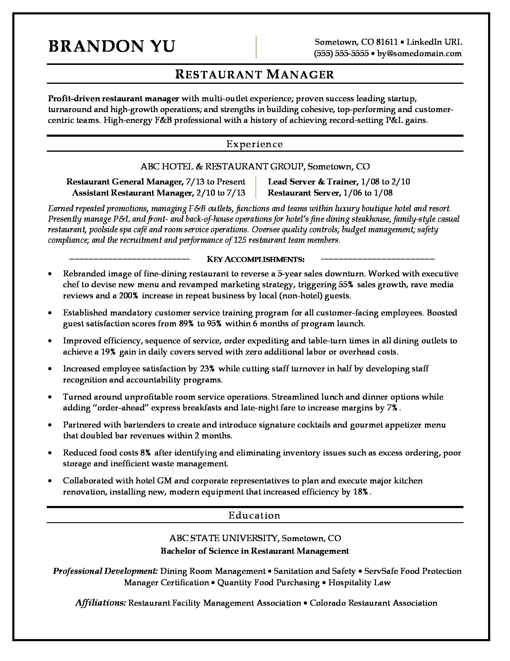 Restaurant General Manager Resume Restaurant Manager Resume Sample
