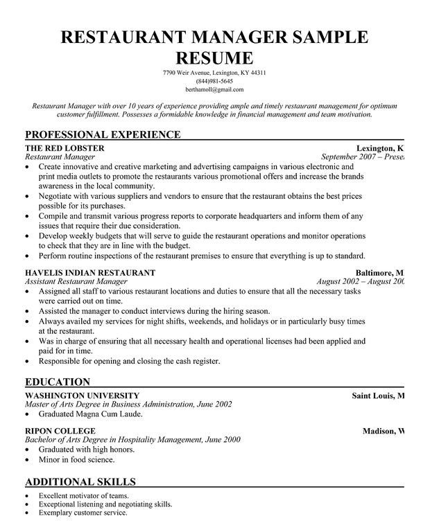 Restaurant General Manager Resume Restaurant Manager Resume Template