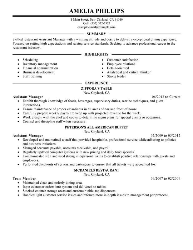 Restaurant General Manager Resume Unfor Table assistant Restaurant Manager Resume Examples