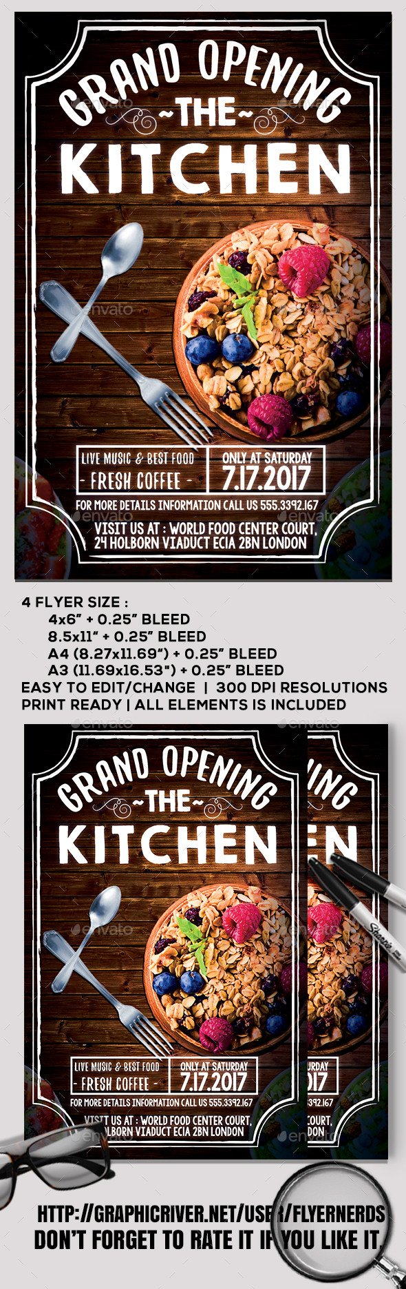 Restaurant Grand Opening Flyer Restaurant Grand Opening Flyer by Flyernerds