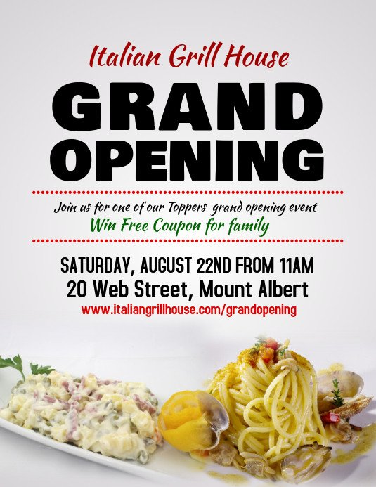 Restaurant Grand Opening Flyer Restaurant Grand Opening Flyer Template