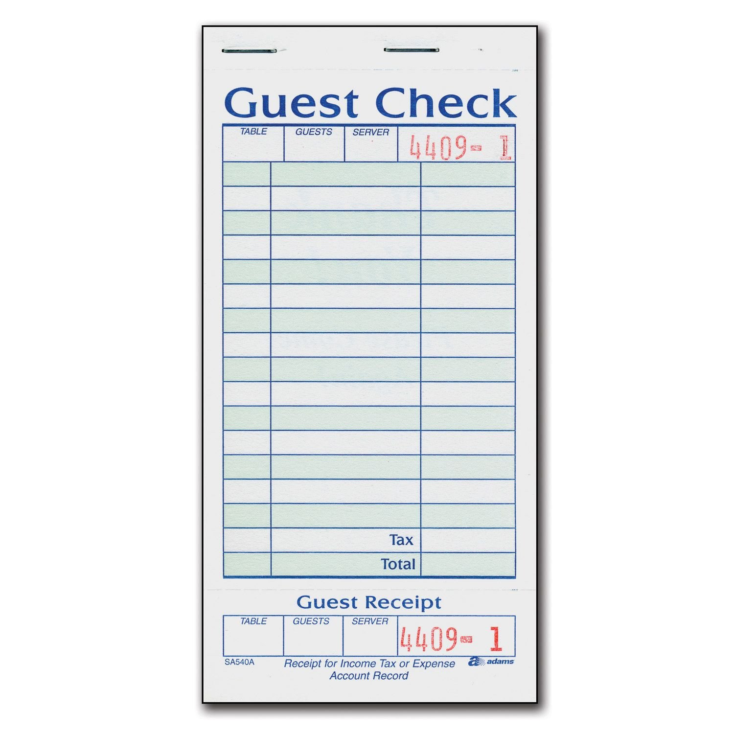 Restaurant Guest Check Template 1 Part Guest Check with Stub 20 Books 50 Checks