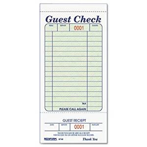 Restaurant Guest Check Template Amazon Rediform Guest Check Book 3 3 8 X 6 1 2 Tear