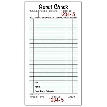 Restaurant Guest Check Template Amazon Rediform Guest Check Pad White 3 375 X 7