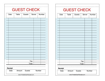 Restaurant Guest Check Template New Printable Cash Receipts
