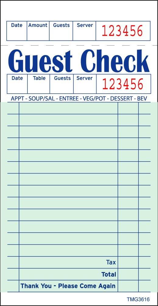 Restaurant Guest Check Template Restaurant Guest Check Template