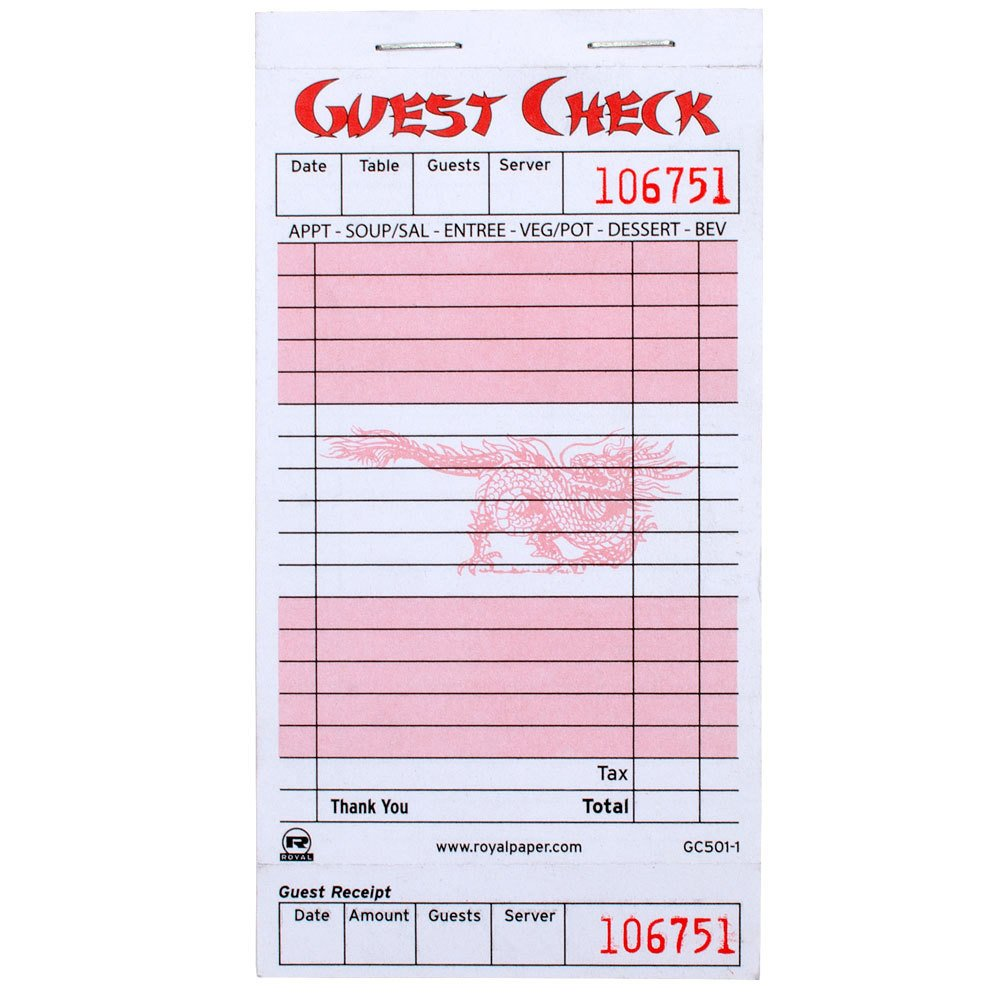 Restaurant Guest Check Template Royal Paper Gc501 1 Chinese asian themed 1 Part Rose