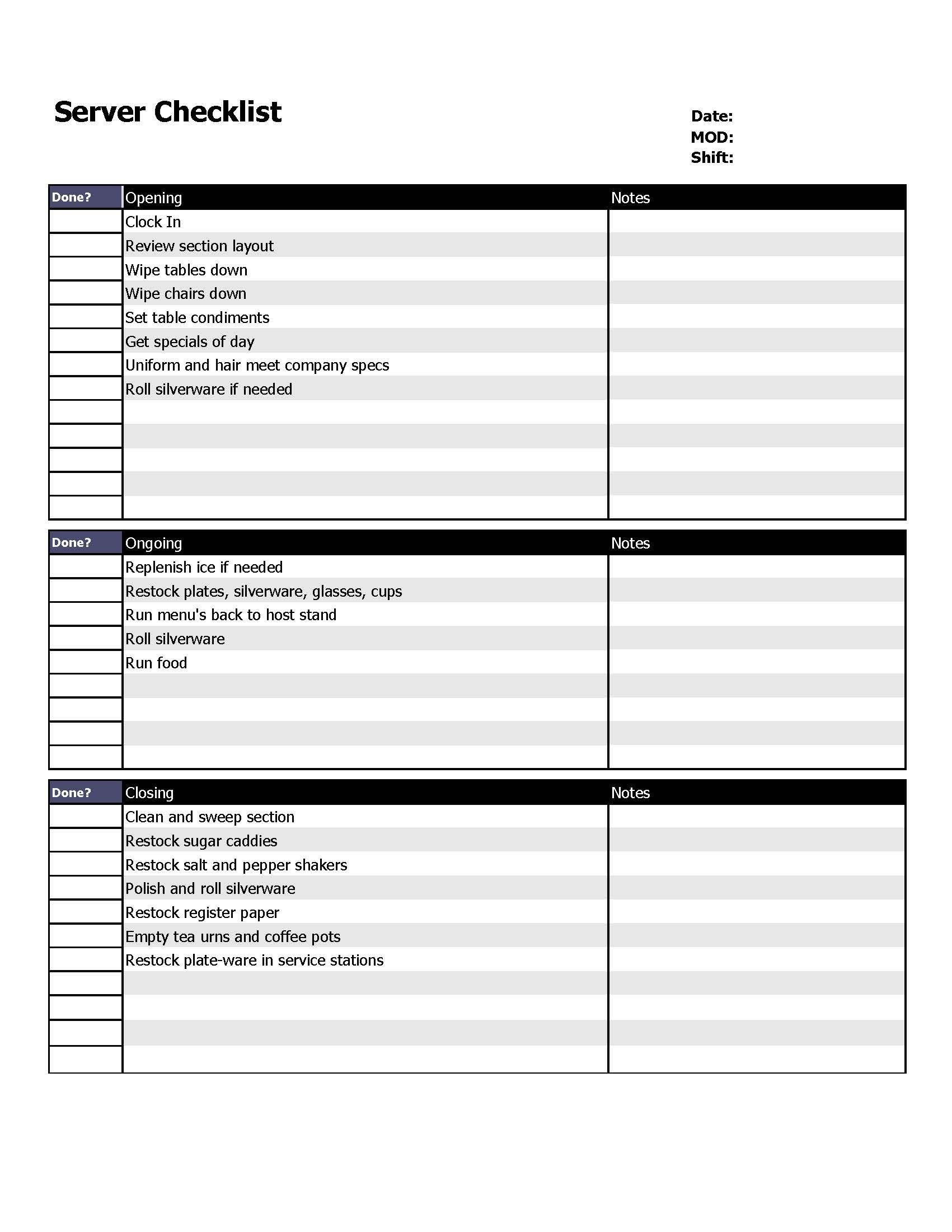 Restaurant Side Work Chart Template Restaurant Server Checklist form