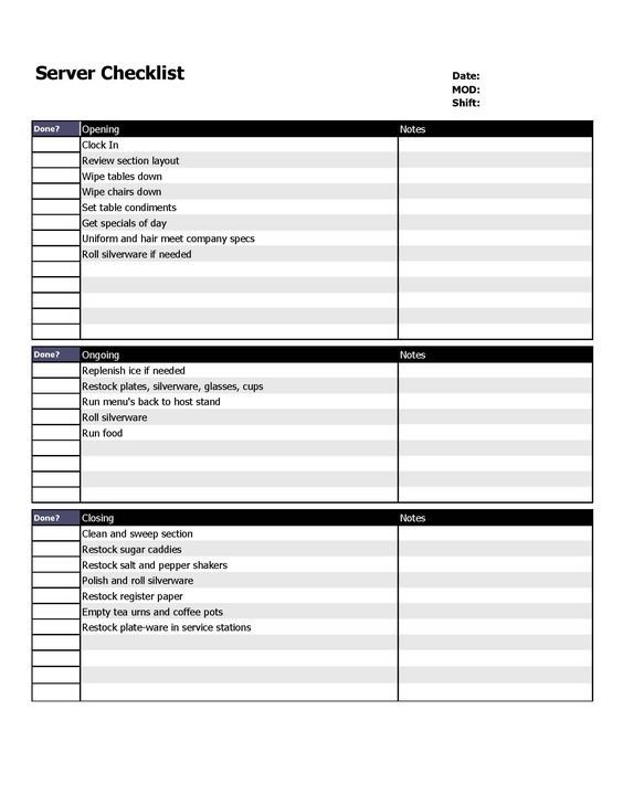 Restaurant Side Work Checklist Template Restaurant Server Checklist form organizing
