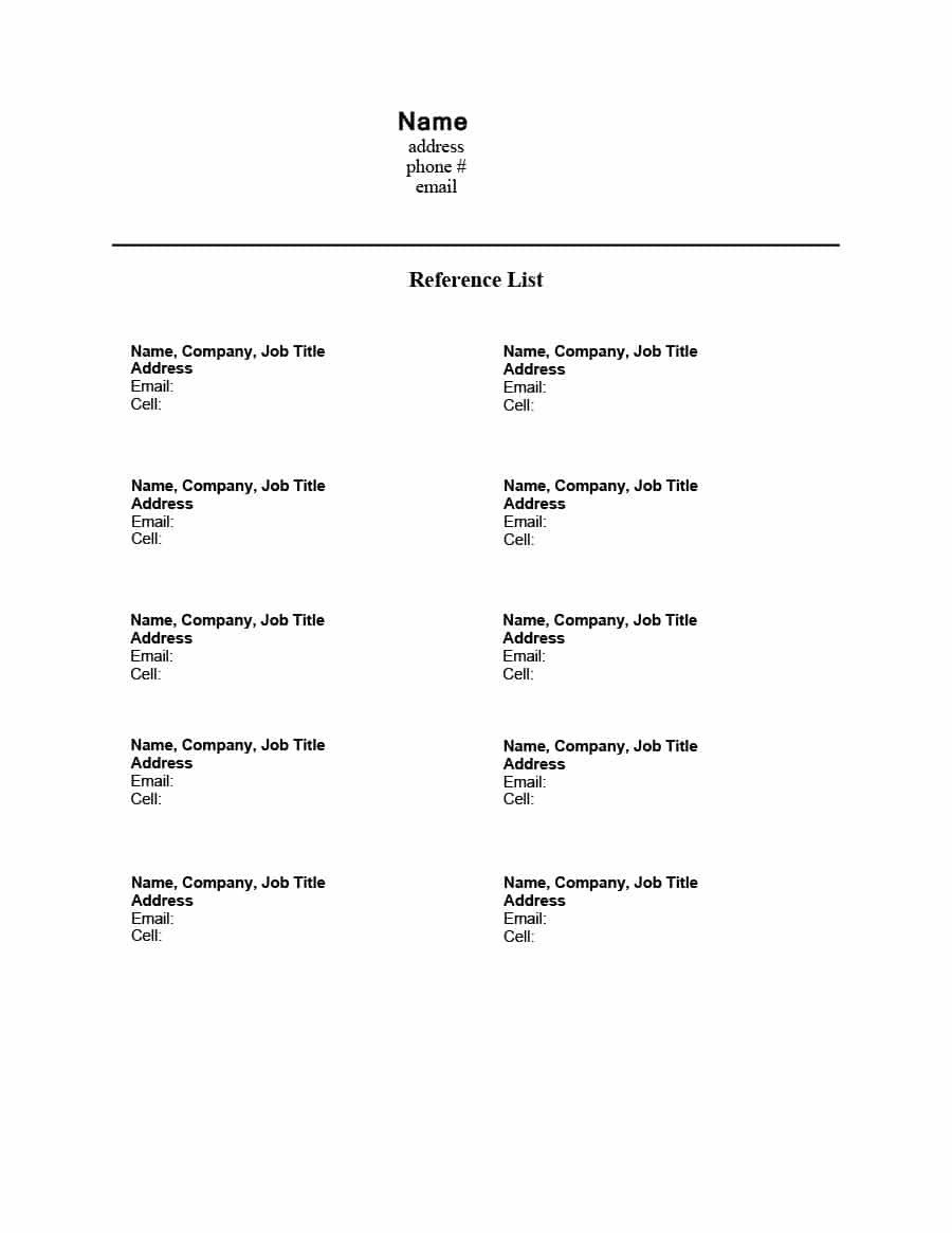 Resume Reference Page Template 40 Professional Reference Page Sheet Templates