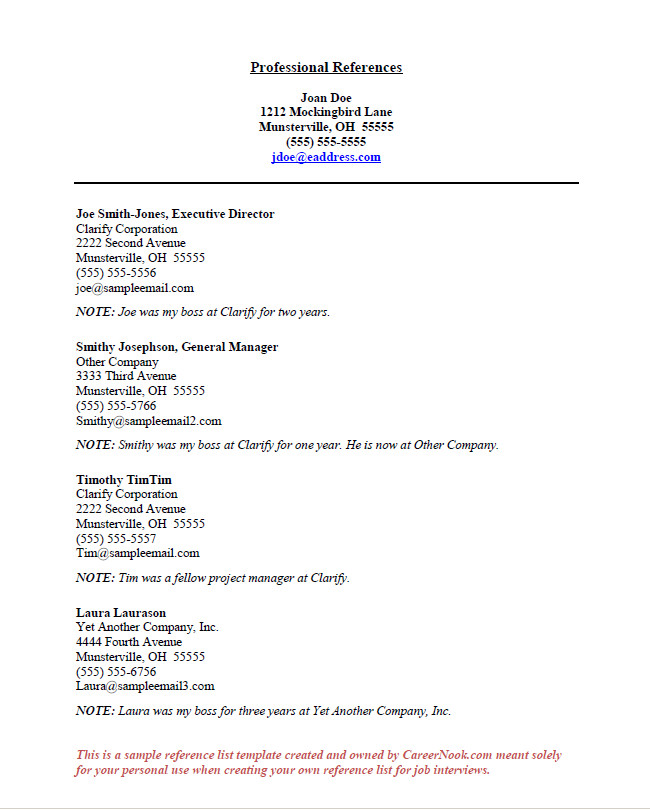 Resume Reference Page Template How to Title References Page for Resume