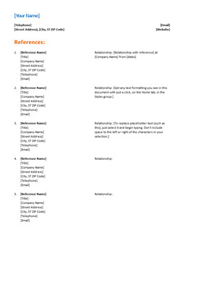 Resume Reference Page Template Reference List for Resume Functional Design