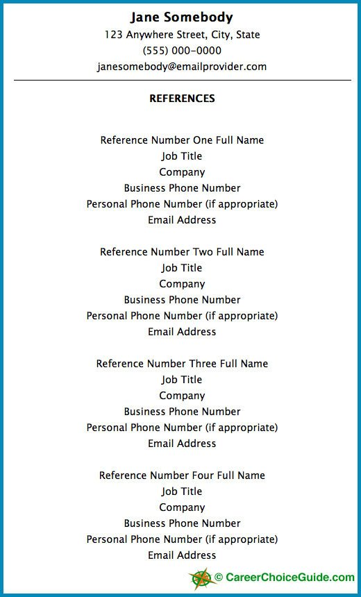 Resume Reference Page Template Resume Reference Page Setup