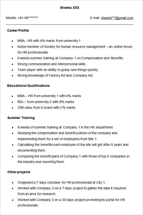 Resume Samples for Freshers 21 Best Hr Resume Templates for Freshers & Experienced