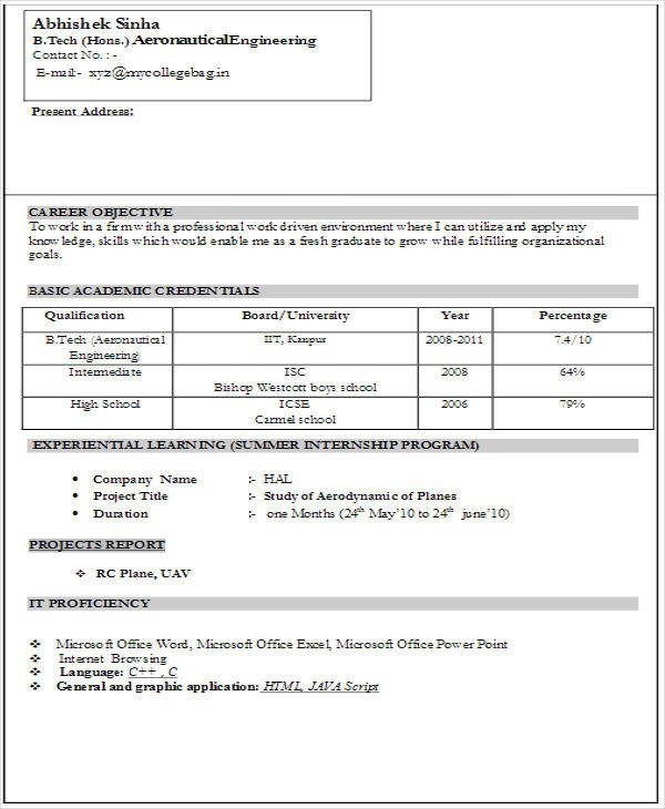 Resume Samples for Freshers 45 Fresher Resume Templates Pdf Doc