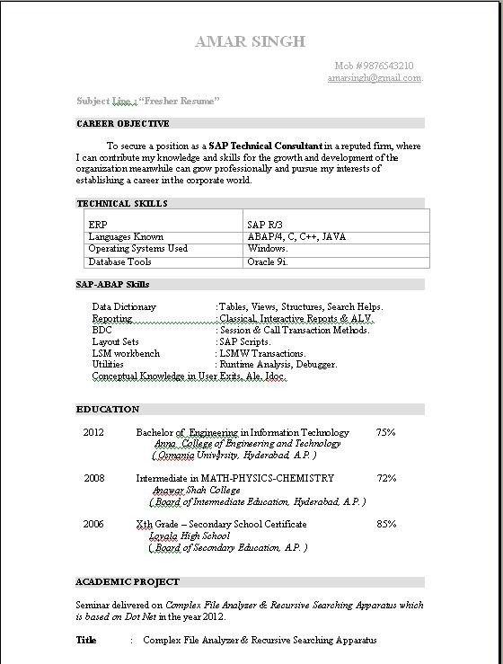 Resume Samples for Freshers Abap Fresher Resume Sample