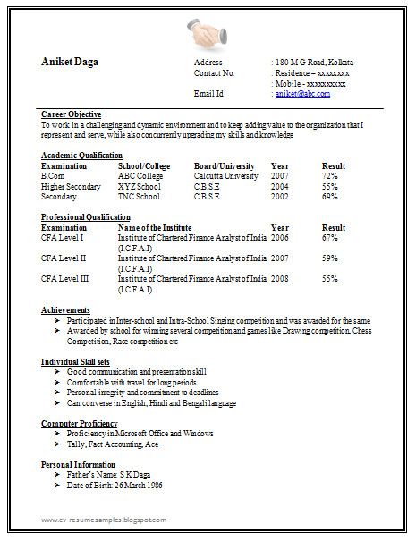 Resume Samples for Freshers Awesome E Page Resume Sample for Freshers