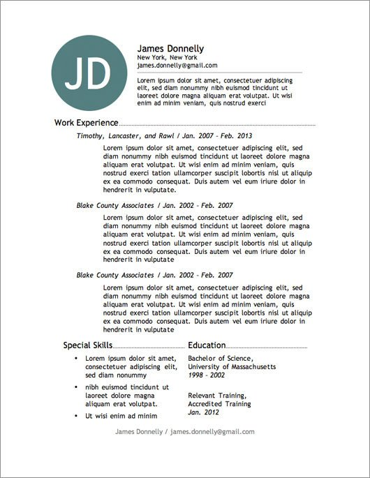 Resume Template Download Word 12 Resume Templates for Microsoft Word Free Download