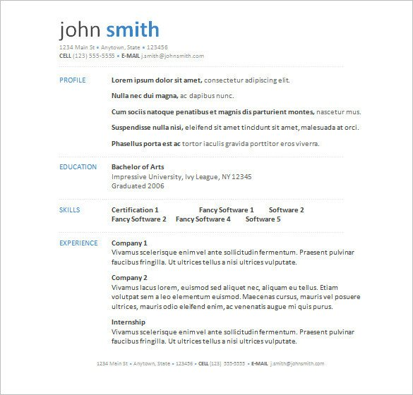 Resume Template Download Word 34 Microsoft Resume Templates Doc Pdf