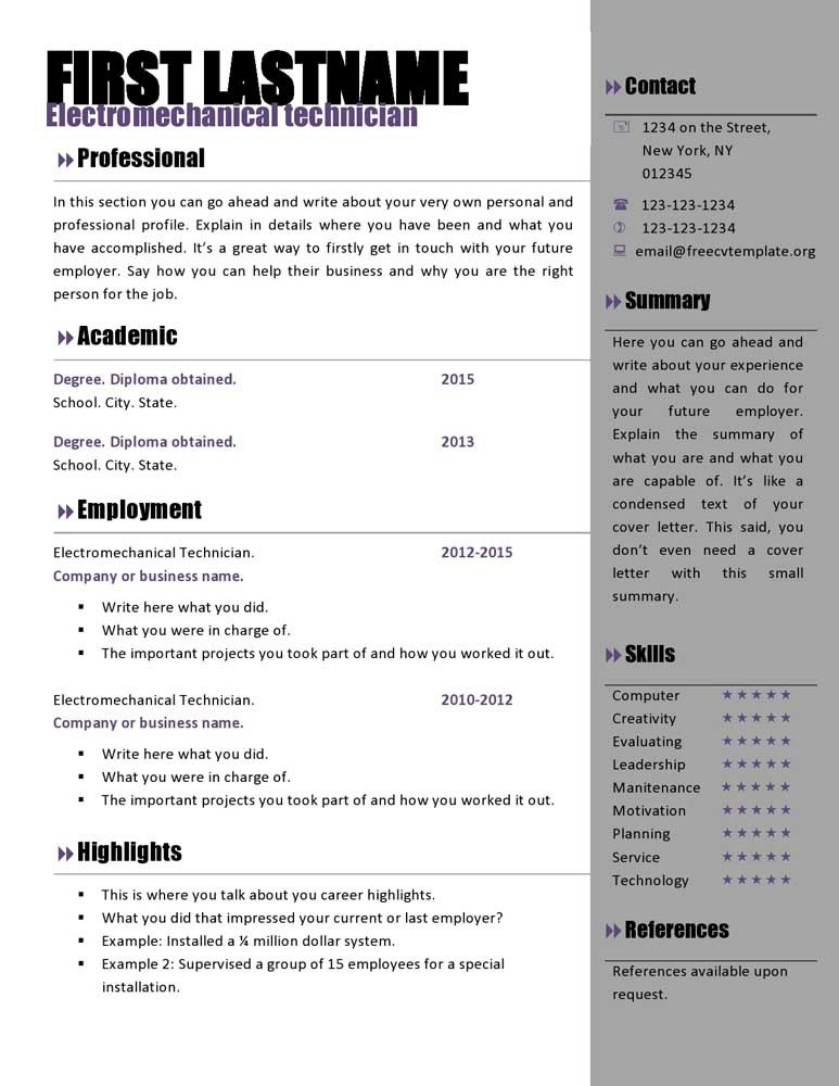 Resume Template Download Word Free Curriculum Vitae Templates 466 to 472 – Free Cv