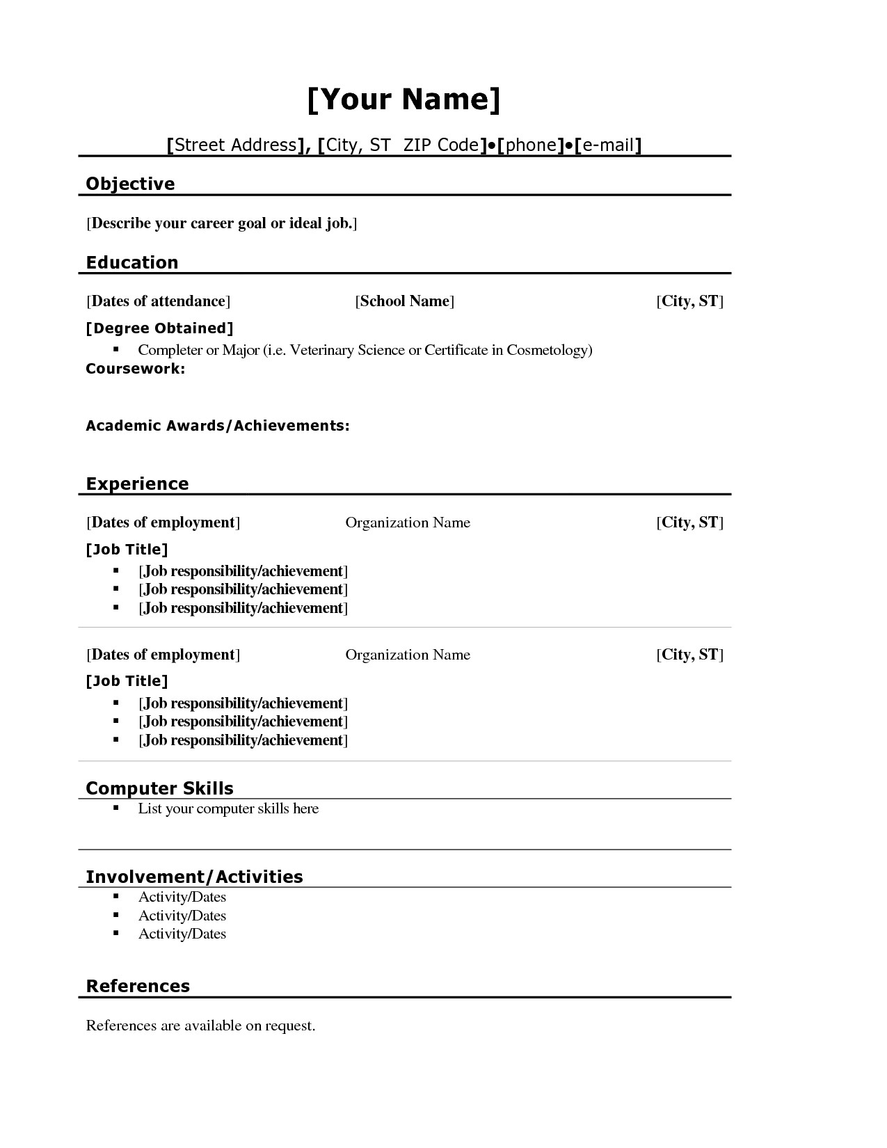 Resume Template for First Job Pin by Jobresume On Resume Career Termplate Free
