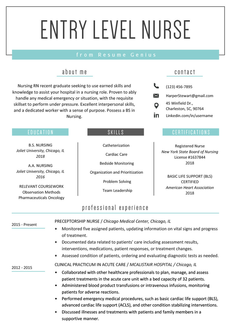 Resume Template for Nursing Entry Level Nurse Resume Sample