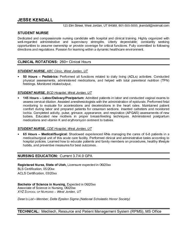 Resume Template for Nursing Example Student Nurse Resume Free Sample