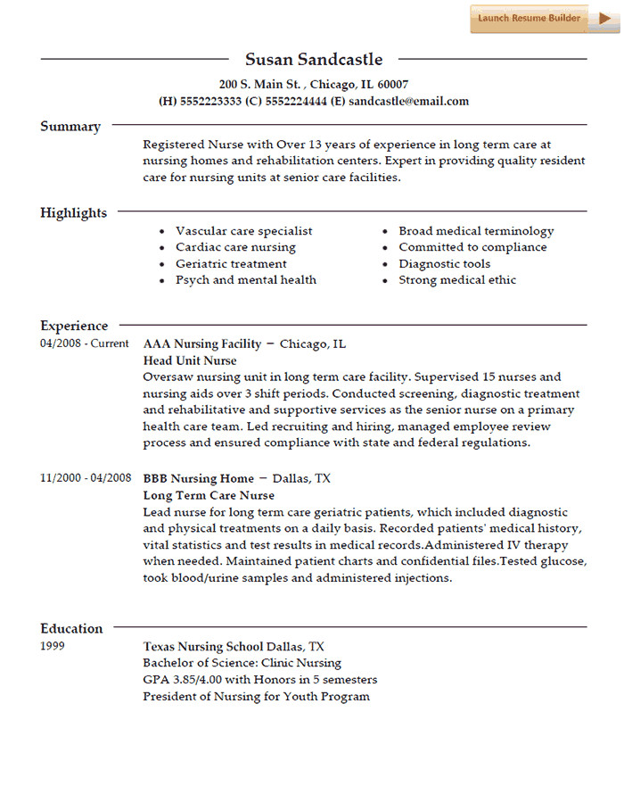 Resume Template for Nursing Nurse Resume Template
